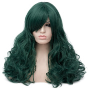 Max Beauty Wig New Nature Deep Green Wig Hair Long Curly Wig Body Wave Wig Cosplay Wig Heat Resistant Synthetic Fibre Wig 60CM Length Wigs Free Cap 37 Colour