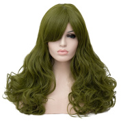 Max Beauty Wig New Nature Moss Green Wig Hair Long Curly Wig Body Wave Wig Cosplay Wig Heat Resistant Synthetic Fibre Wig 60CM Length Wigs Free Cap 37 Colour