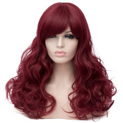 Max Beauty Wig New Nature Dark Red Wig Hair Long Curly Wig Body Wave Wig Cosplay Wig Heat Resistant Synthetic Fibre Wig 60CM Length Wigs Free Cap 37 Colour