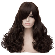 Max Beauty Wig New Nature Black Brown Wig Hair Long Curly Wig Body Wave Wig Cosplay Wig Heat Resistant Synthetic Fibre Wig 60CM Length Wigs Free Cap 37 Colour