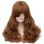 Max Beauty Wig New Nature Brown Wig Hair Long Curly Wig Body Wave Wig Cosplay Wig Heat Resistant Synthetic Fibre Wig 60CM Length Wigs Free Cap 37 Colour