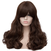 Max Beauty Wig New Nature Dark Brown Wig Hair Long Curly Wig Body Wave Wig Cosplay Wig Heat Resistant Synthetic Fibre Wig 60CM Length Wigs Free Cap 37 Colour