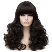 Max Beauty Wig New Nature Black Wig Hair Long Curly Wig Body Wave Wig Cosplay Wig Heat Resistant Synthetic Fibre Wig 60CM Length Wigs Free Cap 37 Colour