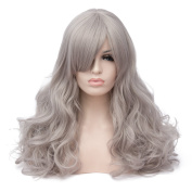Max Beauty Wig New Nature Light Grey Wig Hair Long Curly Wig Body Wave Wig Cosplay Wig Heat Resistant Synthetic Fibre Wig 60CM Length Wigs Free Cap 37 Colour