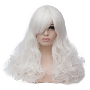 Max Beauty Wig New Nature White Wig Hair Long Curly Wig Body Wave Wig Cosplay Wig Heat Resistant Synthetic Fibre Wig 60CM Length Wigs Free Cap 37 Colour