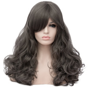 Max Beauty Wig New Nature Smoky Grey Wig Hair Long Curly Wig Body Wave Wig Cosplay Wig Heat Resistant Synthetic Fibre Wig 60CM Length Wigs Free Cap 37 Colour