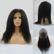 Miss diva Natural Colour Natural Hairline Kinky Straight Remy Human Hair Glueless 130% Density Full Lace Wig With Baby Hair Free Part 41cm