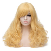 Max Beauty Wig Nature Corn Yellow Wig Long Curly Wig Body Wave Wig Cosplay Wig Heat Resistant Synthetic Fibre Wig 60CM Length Wig Free Cap 37 Colour