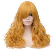 Max Beauty Wig Nature Blonde Wig Long Curly Wig Body Wave Wig Cosplay Wig Heat Resistant Synthetic Fibre Wig 60CM Length Wig Free Cap 37 Colour