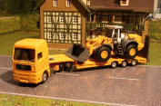 Childrens Activity Low Loader With Liebherr R580 Loader Kids Toy Play Set Fun