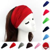 12 Pcs Ladies cotton Hairband Head Band Headband Wrap Neck Head Scarf Cap 2 in 1 Bandana