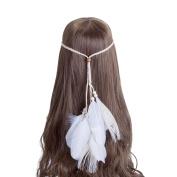 AWAYTR New Feather Headband Women Festival Wedding Headwear Bohomia Feather Rope Crown Headdress