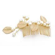 VANKOKO Pearl Leaf Bridal Hair Side Comb Headpiece Wedding Hair Accessories Gold