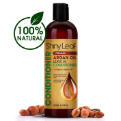 Shiny Leaf Organic Argan Oil Leave In Conditioner + Organic Hemp Oil – Anti Hair Loss Treatment - Rejuvenates and Treats Damaged Hair, Adds Volume and Shine, Sulphate and Paraben Free, 16 oz