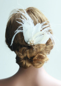 Missgrace Bridal Bridesmaid Wedding Feather Hair Comb Clip Women Crystal Hair Clip Headpiece for Wedding Party and Special Occasions