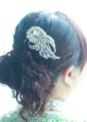 Missgrace Bridal Bridesmaid Wedding Leaf Hair Comb Women Crystal Hair Clip Headpiece for Wedding Party and Special Occasions