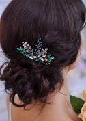 Missgrace Bridal Bridesmaid Wedding Green Hair Comb Women Crystal Hair Clip Headpiece