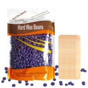 Hard Wax Beans, Body Hair Removal Wax, Solid Depilatory Wax for Women Men, 310mls/bag (Purple) with 15pcs Wooden Spatula