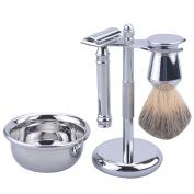 CSB Men's Grooming Shaving Kit Chrome Handle Badger Hair Shaving Brush and Safety Razor Shaving Bowl