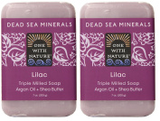 One With Nature Lilac Soap (Pack of 2) With Dead Sea Minerals, Argan Oil and Shea Butter, 210ml Each