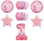 #1 First One 1st GIRL Princess Tiara Pink Stars (11) Birthday Party Balloons Set by LGP