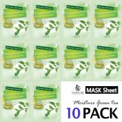 Collagen Facial Sheet Mask Pack (10 Sheets) Face Treatment [NAISTURE] Essence Face Masks - 15 Minute Application For Moisturising Revitalising Hydration 25ml, Made in Korea - Moisture Green Tea