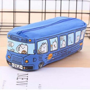 School Bus Cartoon Cute Large Capacity Stationery Canvas Pencil Case With Zipper Pen Pencil Storage Organiser Pencil Bag Student Gift New