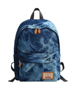Douguyan Casual Fashion Denim School Bag Daily Backpack For Teenager E00320Dark Blue