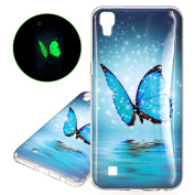 isaken Case Cover for LG X Power – Fashion Attachable Light Cover Case with Flashing LED Ultra Slim Thin TPU Hard Case Cover Silicone Gel Protective Skin Case glitter farfalle blu LG X Power