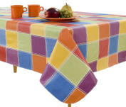 Elrene Home Fashions Vinyl Tablecloth with Polyester Flannel Backing Multi Colour Cheque Easy Care Spillproof, 150cm X 210cm , Multicolor