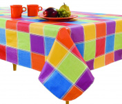Elrene Home Fashions Vinyl Tablecloth with Polyester Flannel Backing Multi Colour Cheque Easy Care Spillproof, 130cm X 180cm , Multicolor