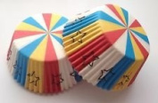 50 count Stripe Stars Swirl Multi Colour Cupcake Liners Liner for Standard Size Cupcakes