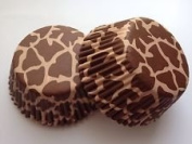50 count Giraffe Animal Print Brown Cupcake Liners Liner for Standard Size Cupcakes