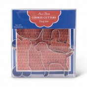 Dog Treat Cookie Cutters - 5 Piece Boxed Set - 5.1cm & 10cm Dog Bone, Dog House, Pet Dog and Paw Print - Ann Clark - US Tin Plated Steel