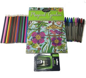 CraZart Magic Garden Adult Colouring Book Complete Kit – Includes 18 Coloured Pencils, 10 Coloured Bic Pens and Pencil Sharpener