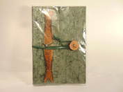 Nepalese Daphne Bush Bark Hand Crafted Artist Writer's Journal Sage Green with Wood Fish & Button Closure Embellishment