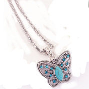 UNKE Cute Turquoise Butterfly Shape Pendant Necklace Chain for Women Girls