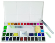 Jerry Q Art 36 Assorted Water Colours Travel Pocket Set- Two Free Refillable Water Brush With Sponge - Easy to Blend Colours - Porcelain Mixing Tray - Perfect For Painting On The Go JQ-136
