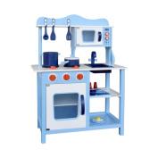 Children Wooden Kitchen Play Set Blue
