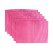 DII Cotton Ribbed Table Placemat for Valentine's Day, Mother's Day and Everyday Use - 33cm x 48cm , Flamingo Pink, Set of 6