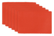 DII 100% Cotton, Ribbed 33cm x 48cm Everyday Basic Placemat Set of 6, Ribbon Red