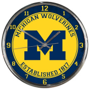 Michigan Wolverines NCAA 30cm Round Chrome Plated Wall Clock