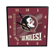 NCAA Florida State University Go Team! 30cm Square Clock, One Size, Multicolor