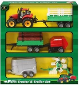 Plastic Farm Tractor And Trailer Playset