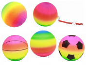Small Large Inflatable Neon Rainbow Colour Rubber Ball Kid Beach Garden Toy