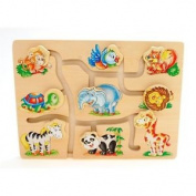 Wooden Match The Head Jungle Animals Puzzle - Fun Childrens Game Kids