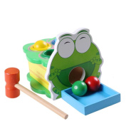 KateDy 1 pc Colourful Wooden Cartoon Animal Frog Vomit Balls Game Baby Kids Percussion Toys Knock Toy Family Games Puzzle Educational Toy