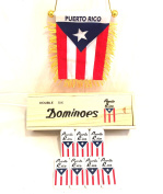 2pc Puerto Rico dominoes Value pack You Get the classic Puerto rican dominoes in wood case and you get the Puerto Rico Mini Banner automobile or home flag 2pc value pack