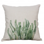 YeeJu Square Green Plant Cotton Linen Throw Pillow Case Decorative Cushion Cover Sofa Home Pillowcases 50cm x 50cm
