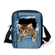 Coloranimal Cute Cat Denim Printing Blue Girls Small Cross Body Shoulder Bags